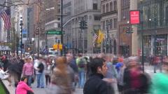 Timelapse heavy traffic street New York City Manhattan avenue people travel day  - stock footage