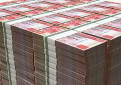 hong kong dollar notes bundles stack - stock illustration