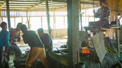 Inle lake, myanmar - circa jan 2014: the process of working in a traditional Stock Footage