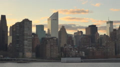 Amazing Manhattan cityscape sunset New York city iconic dusk tourism attraction  Stock Footage