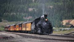 Vintage steam coal train in the mountains - 3 clips Stock Footage