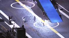 Stuntman Motorcycle Ramp Manhattan Island Stock Footage