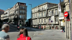 Spain Galicia City of Vigo 032 curve in main street with old houses Stock Footage