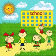 small group of children near the school - stock illustration