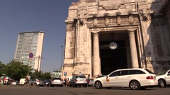 Railway station, Stazione Centrale Milan, Pirellone and taxi Stock Footage