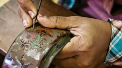 Bagan, myanmar - 10 jan 2014: etching with needle in traditional burmese lacq Stock Footage
