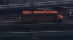 Yellow School Bus Verrazano Bridge Stock Footage