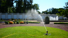 Lawn sprinkler spraying water on fresh green grass and flowers Stock Footage
