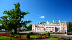 Beautiful royal castle in park with fountain Stock Footage