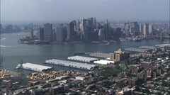 Manhattan Island Skyscrapers Hudson River Stock Footage