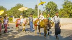 Bagan, myanmar - 12 jan 2014:  burmese shinbyu novitiation ceremony is in the Stock Footage