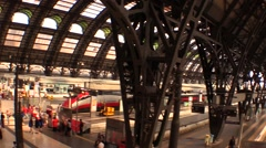 Railway Station Milan, view on train tracks Stock Footage