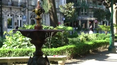 Spain Galicia City of Vigo 004 beautiful old fountain in the park Stock Footage