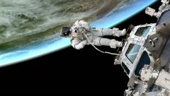 Space walk from space station Stock Footage