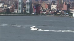Small Fishing Boat Hudson River Stock Footage