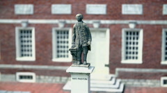 Statue in front of Independence Hall in Philadelphia, USA - stock footage