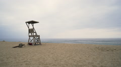 Lifeguard chair on Cape Cod 2 Stock Footage