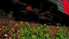 RZD Suburban train (russian railway). Close-up the lower part of wagons. Stock Footage