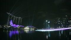 Singapore - circa dec 2013: marina bay sands and decorated gulf before the ce Stock Footage