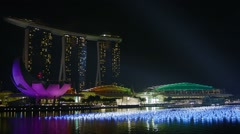 Singapore - circa dec 2013: night view of the gulf. view of the marina bay sa Stock Footage