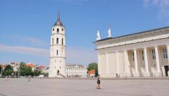 Vilnius Cathedral and Vilnius Cathedral Bell Tower in Cathedral Square Stock Footage