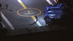 Motorcycle Stuntman Ramp Manhattan Island Stock Footage