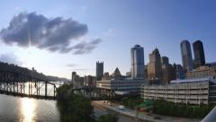 Pittsburgh Time Lapse Establishing Shot at Dusk Looking West Stock Footage