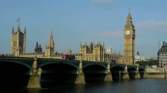 Westminster abby and big ben over the river thames Stock Footage