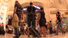 Railway and metro station ,passengers,travellers and commuters TIME LAPSE Stock Footage
