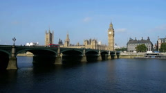 big ben over the river thames - stock footage