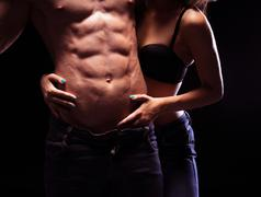 very sexy male six pack abs - stock photo