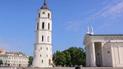 4K Vilnius Cathedral and the bell tower of Vilnius in Cathedral Square Stock Footage