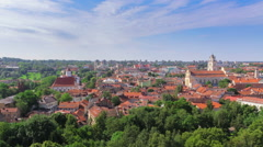 View of Vilnius Old Town from Gediminas' Tower, rooftops Stock Footage