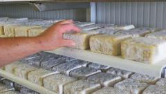 0431 UHD Worker in a cheese factory working on cheeses aging Stock Footage