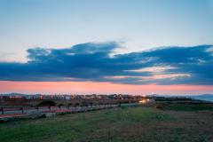 suburbs at sunset - stock photo