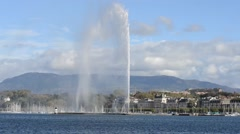 Jet d'Eau fountain in Geneva Switzerland Stock Footage