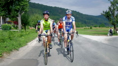 Wide shot of bikers on tour Stock Footage