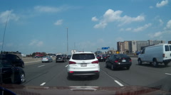POV driving shots in heavy stop and go traffic on the 401 in Toronto Stock Footage