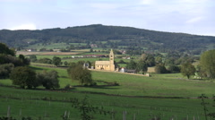 France Burgundy landscape with church and fields 4k Stock Footage