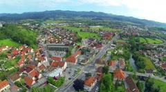 Aerial shot of Vrhnika city panning around Stock Footage
