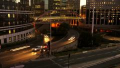 day to night time lapse. city at night. traffic lights. modern buildings - stock footage