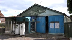 Vintage Petrol Station and fuel pumps - Abandoned Spaces Stock Footage