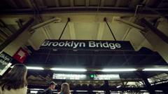 Brooklyn Bridge Stop in Subway Train Station Platform in Manhattan NYC USA Stock Footage