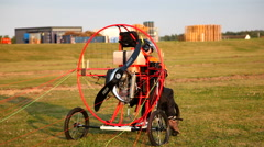Attaching the paraglider - stock footage