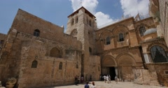 Jerusalem 4K Church of the Holy Sepulchre exterior 24P - stock footage