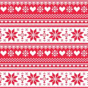 Nordic seamless knitted Christmas red heart pattern - stock illustration