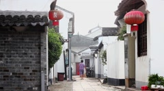 View of old street in village of Zhujiajiaoi ,  Shanghai city, china. Stock Footage