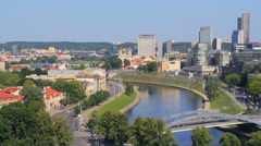 View of Vilnius business district (Šnipiškės) and Neris river Stock Footage