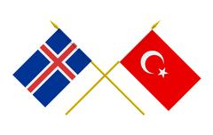 flags, iceland and turkey - stock illustration