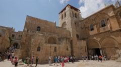 Jerusalem 4K Church of the Holy Sepulchre exterior tourists 25P Stock Footage